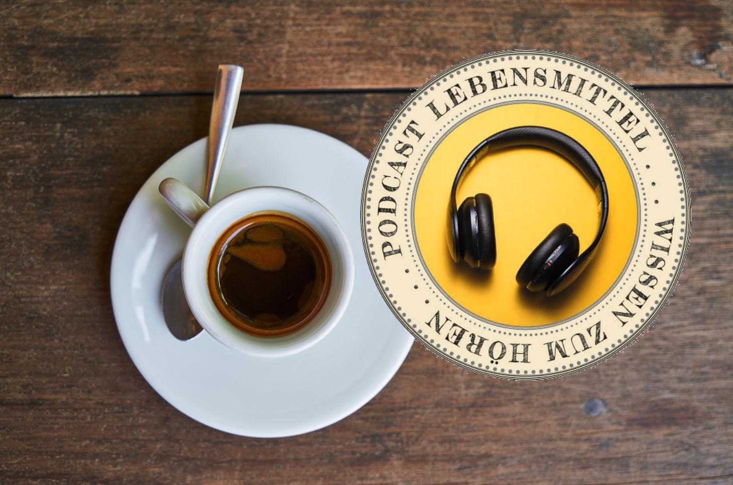 Tasse Espresso mit Poscast-Sujet