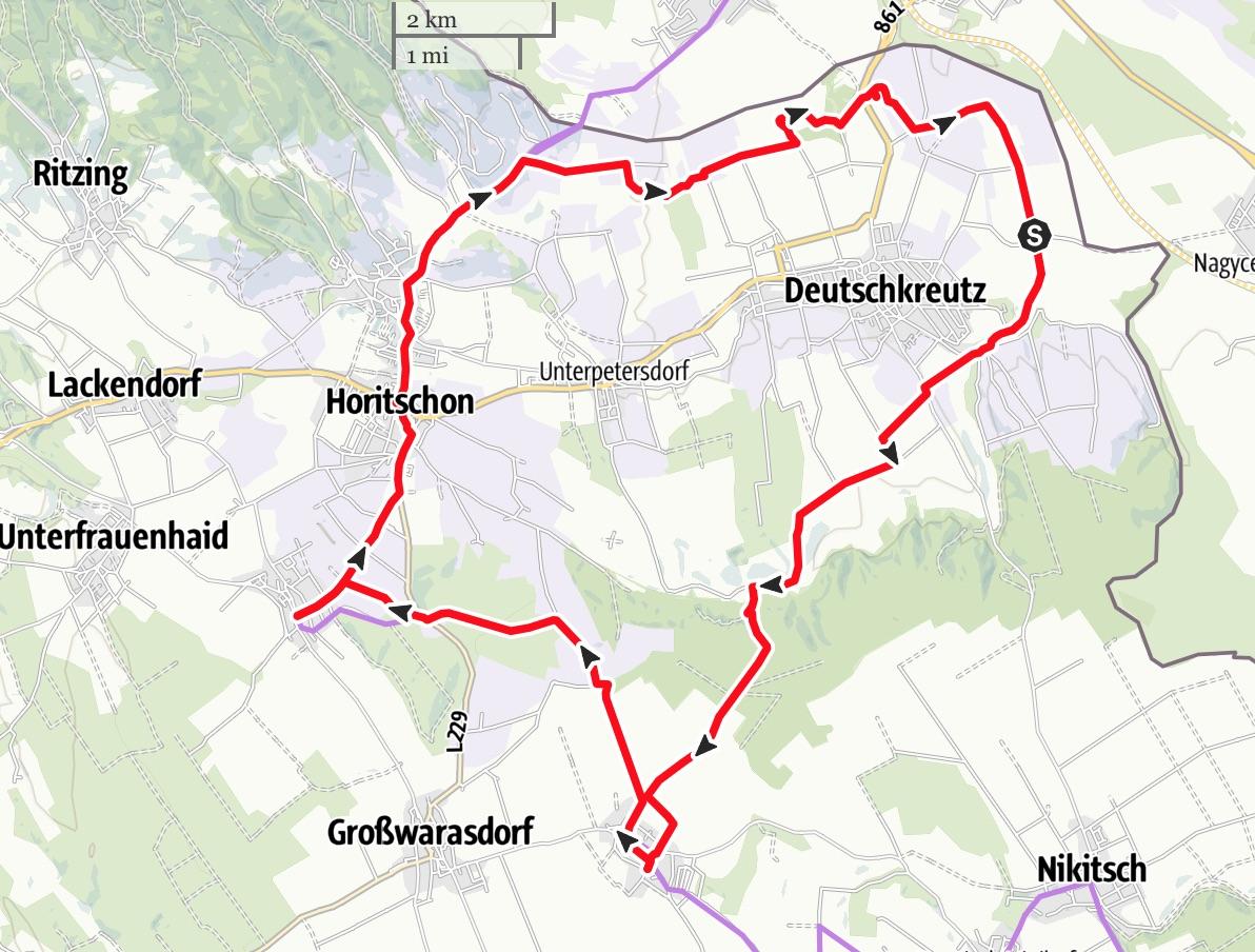 Karte Rotweinradweg
