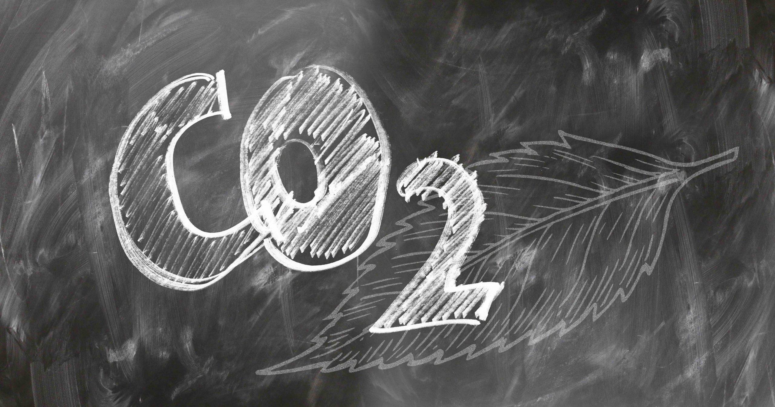 C02 mit Kreide auf einer Tafel