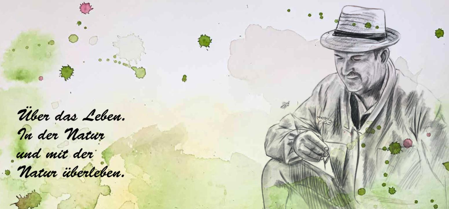 Zeichnung Mann mit Biene und Blüte
