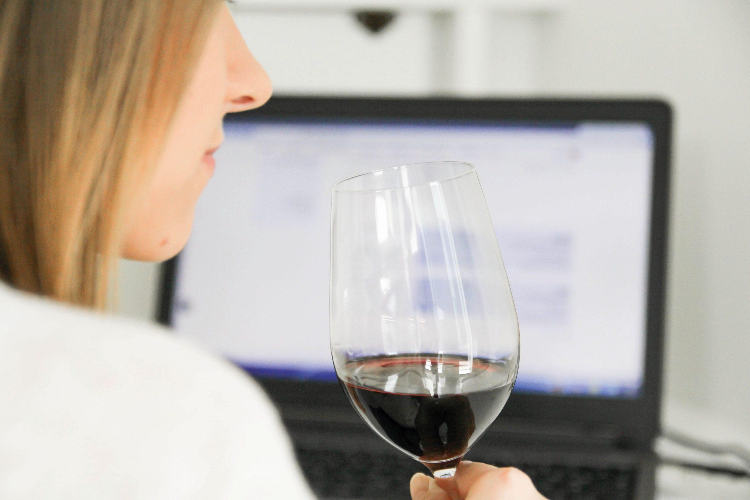 Frau mit Glas Wein vor dem Computer