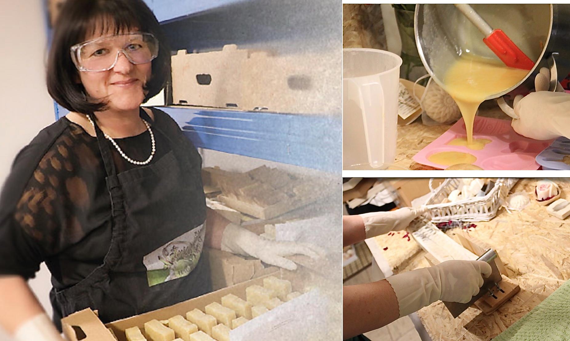 Sabine Mischinger mit Schutzbrille bei der Herstellung von Seifen