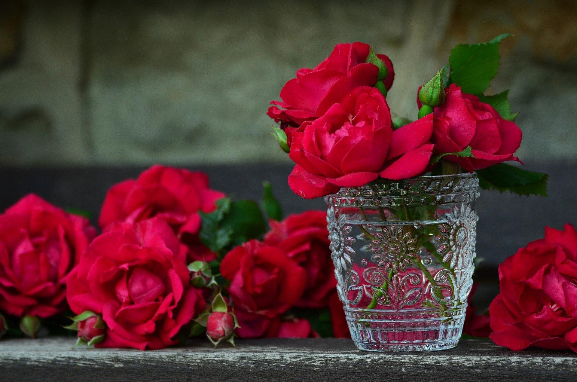 Rosen auf einem Holzbrett und in einem Glas