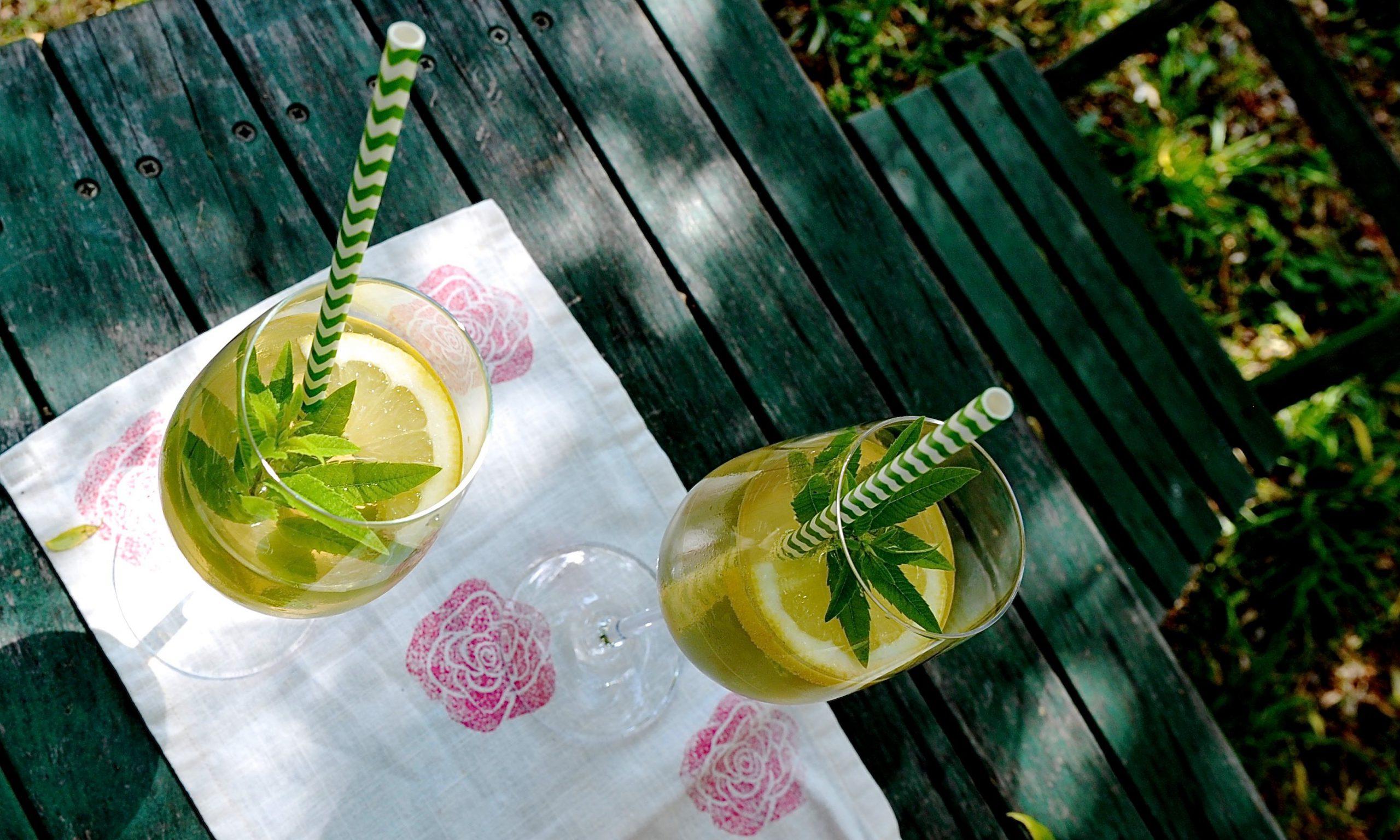 Sommergetränk mit Zitrone und Zitronenverbene auf grünem Gartentisch